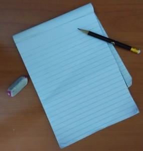 Blank sheet, pencil, eraser and a calm mind