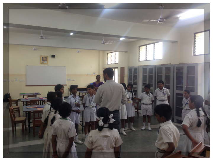 Santosh (Bambaram) conducting a game during prelims in one of the schools