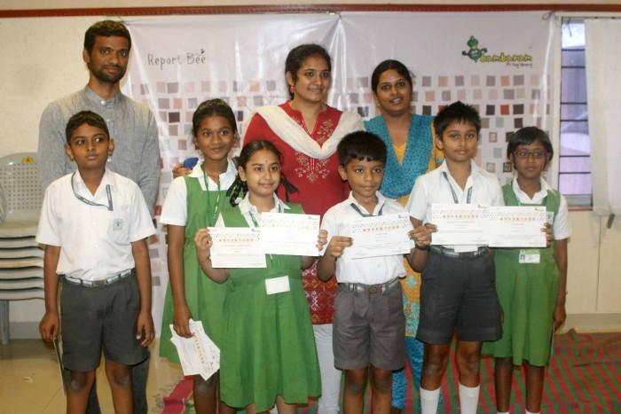 Children from Vana Vani Matriculation School with the Wordathon team
